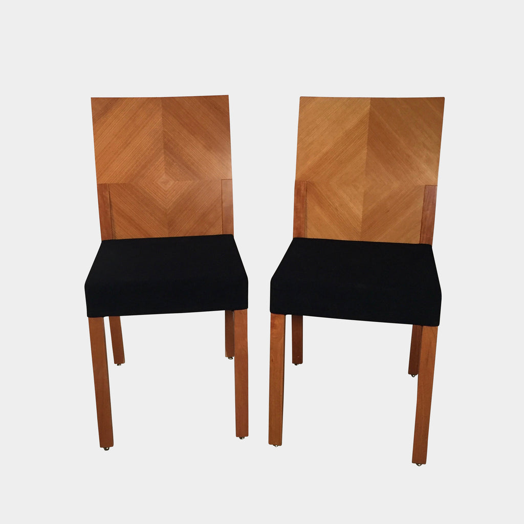 Punt Muebles Cherry wood Dining Chairs with Black fabric seats