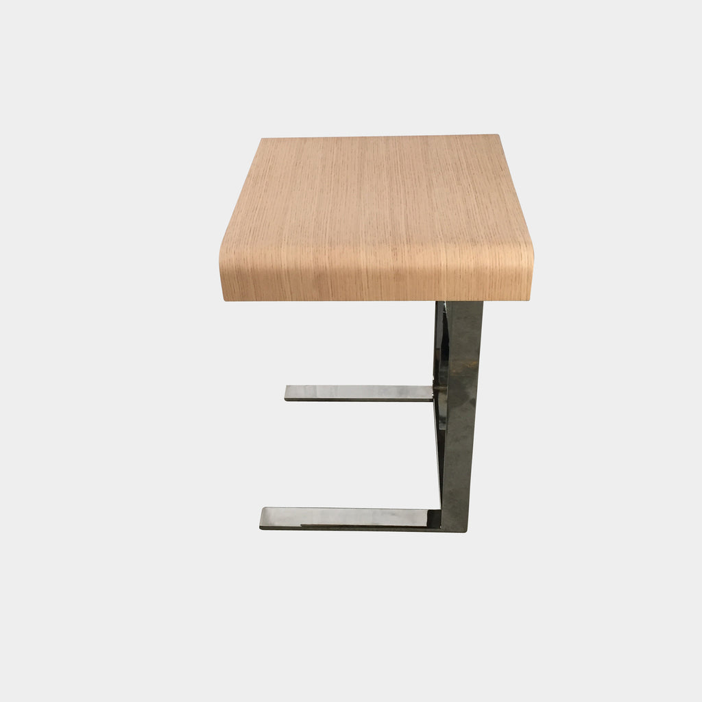 B&B Italia Light Oak Eileen Side Table With Chrome Base | Los Angeles