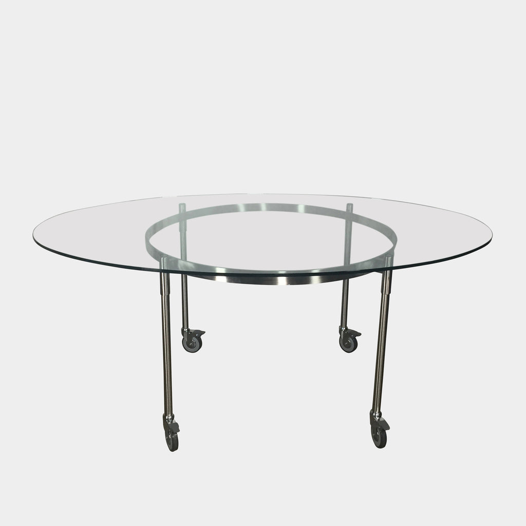 Driade 'Ito' Glass Dining Table on Castors by Marco Zanuso Jr.