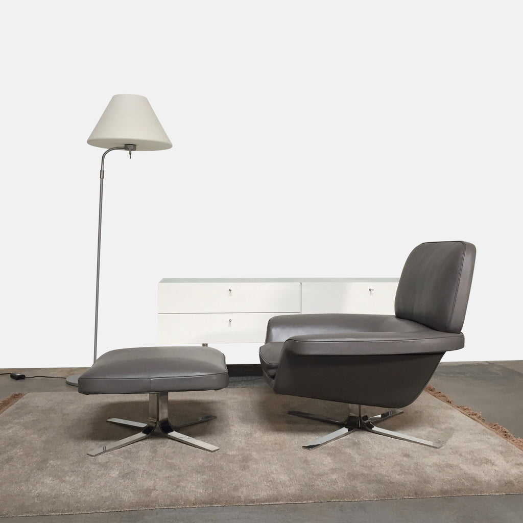 Minotti Taupe Leather Blake Lounge Chair & Ottoman by Rodolfo Dordoni
