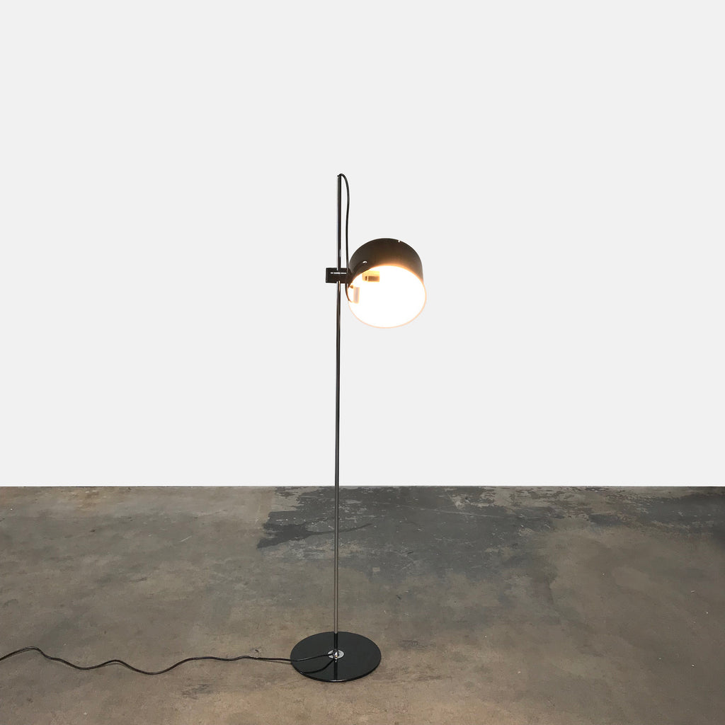 Oluce Black Glass Coupe Floor Lamp by Joe Colombo