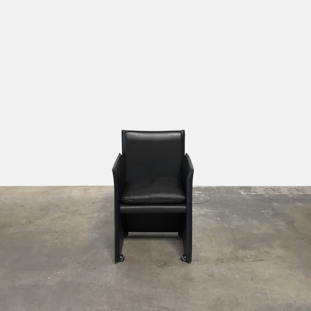 Cassina Black Leather 401 Break Rolling Armchair | LA | Consignment