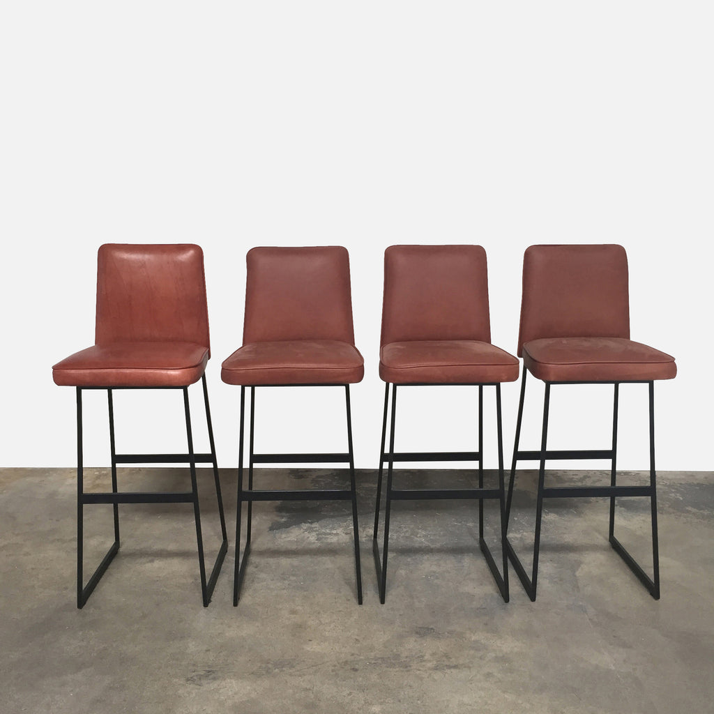 Lawson Fenning Vintage Brown Leather Elysian Bar Stools (Set of 4)
