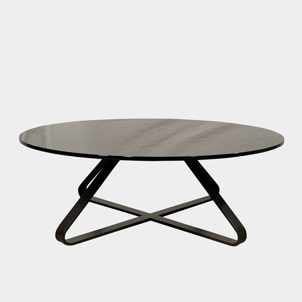 Artelano Black Glass Spider Coffee Table Low Round