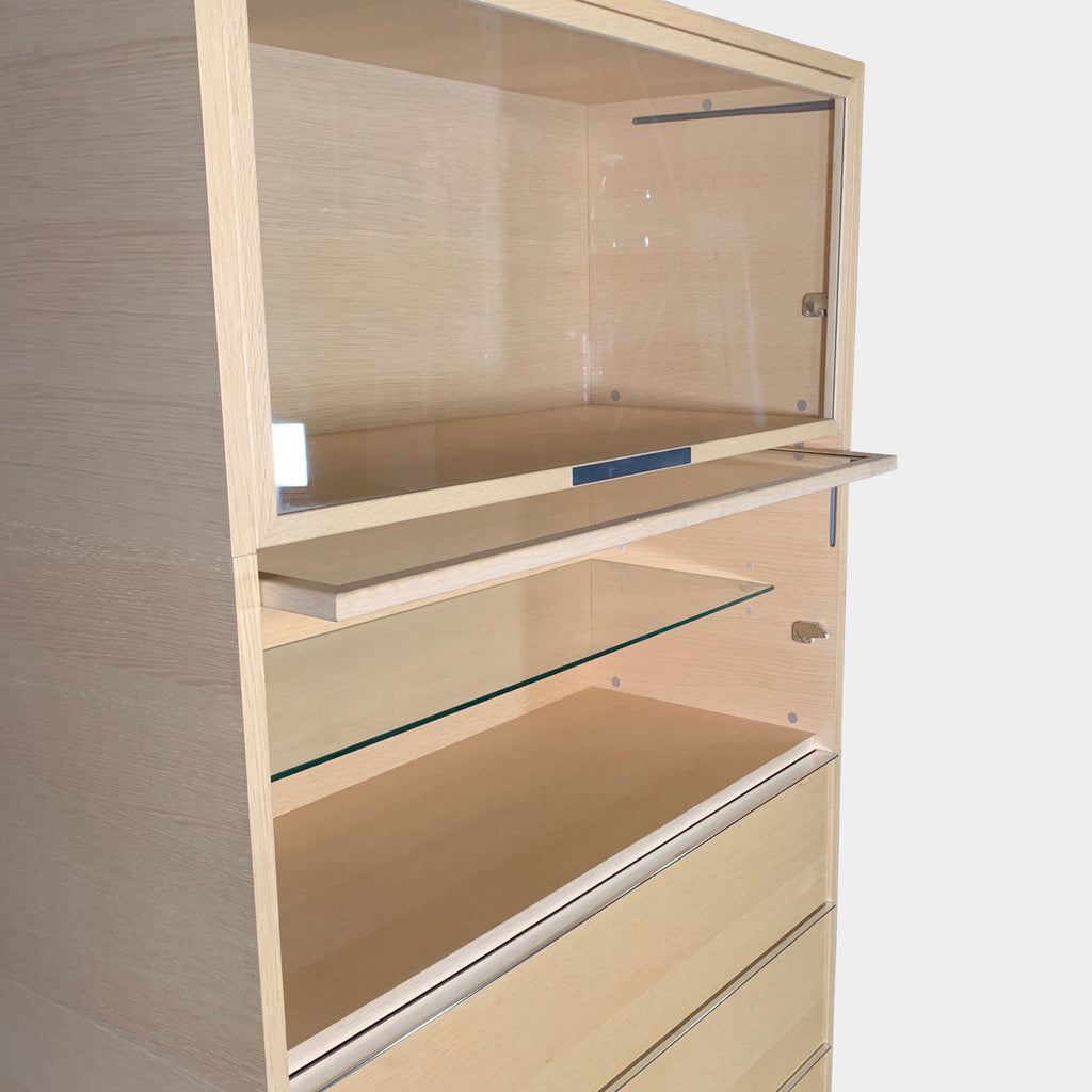 MDF Italia Light Wood & Glass Storage Cabinet