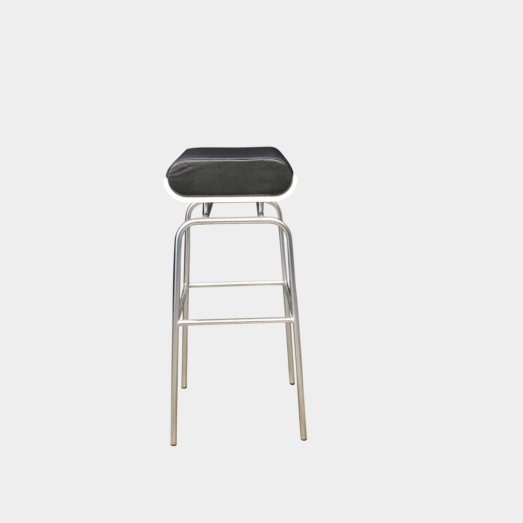 Johanson Design Black Bison Bar Stool Black Leather Seat