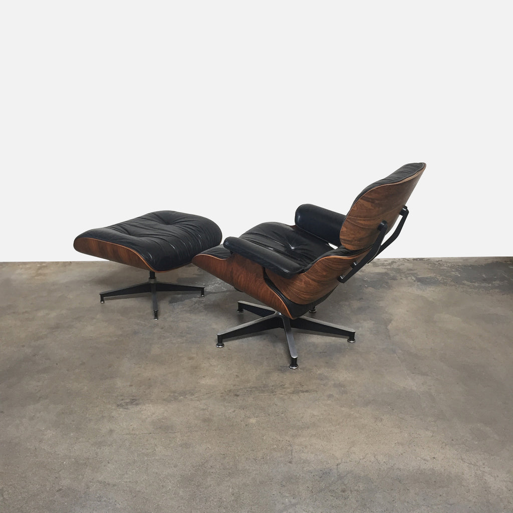 Herman Miller Eames Lounge Chair 670 Ottoman Black Leather Rosewood