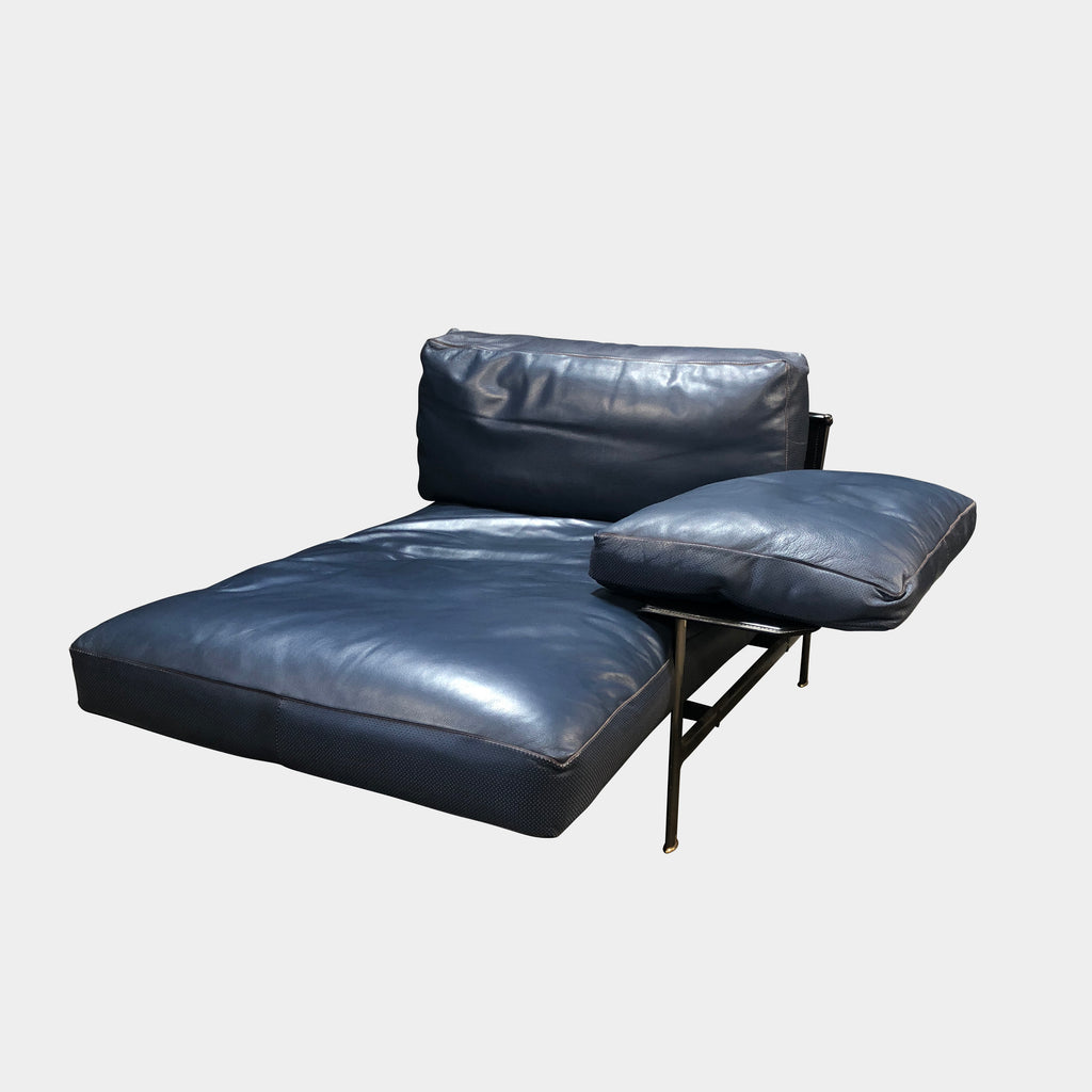 B&B Italia Blue Leather Bronze 'Diesis' Chaise Lounge | Los Angeles. Save thousands of dollars online or in our designer furniture outlet. Shop upscale furniture consignment from Los Angeles elite homes, showroom closings, overstock & liquidations. 40-70% discount below retail.