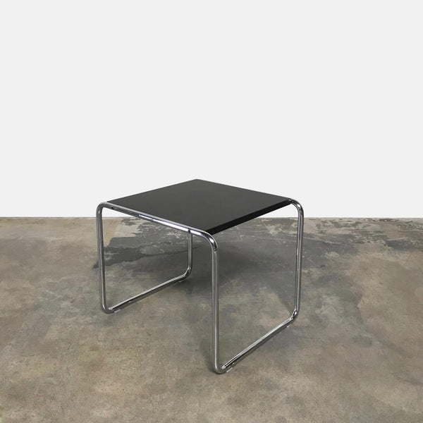 Knoll 'Laccio' Black and Chrome Side Table by Marcel Breuer