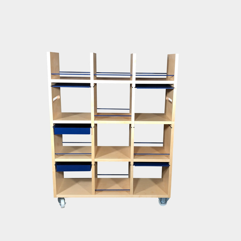 Driade Francescano Rolling Bookcase Light Wood with Blue Metal drawers