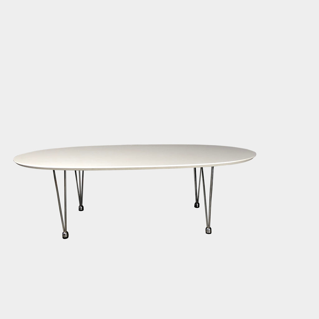 Fritz Hansen White Laminate Superellipse Oval Coffee Table