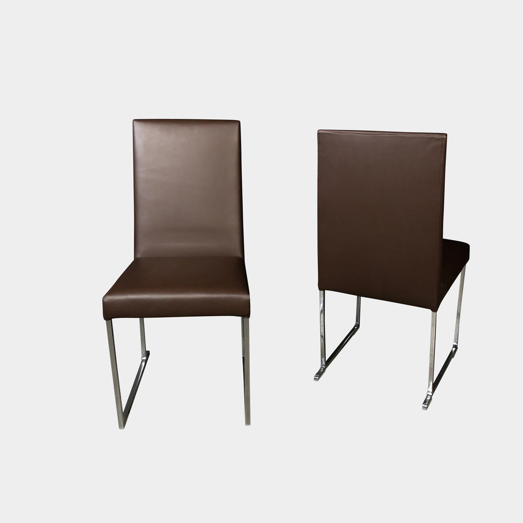B&B Italia Black Leather Solo Dining Chairs (Set of 2)