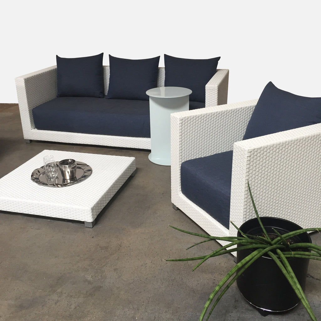 Gervasoni InOut Outdoor Set by Paola Navone White Wicker Frame Denim