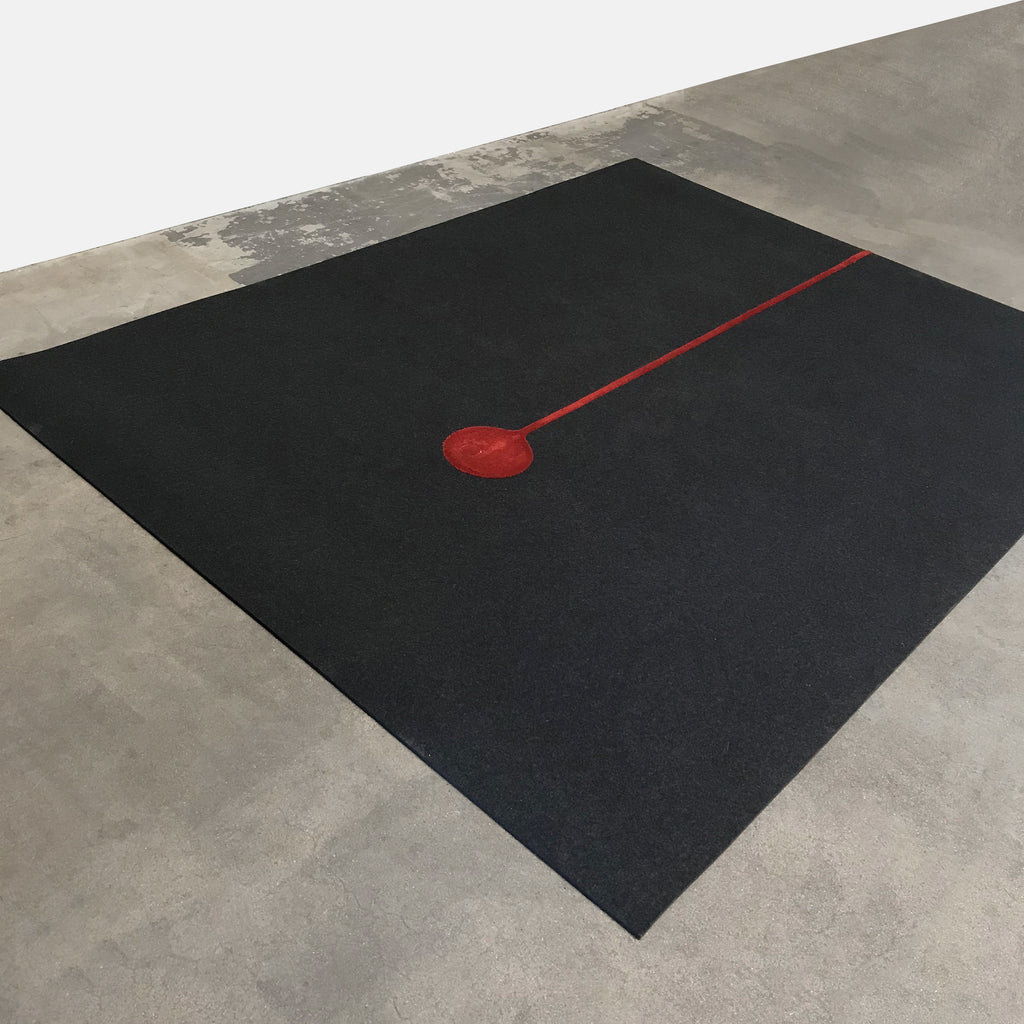 Cor Gray Felt Wool Rug with Red Graphic Design