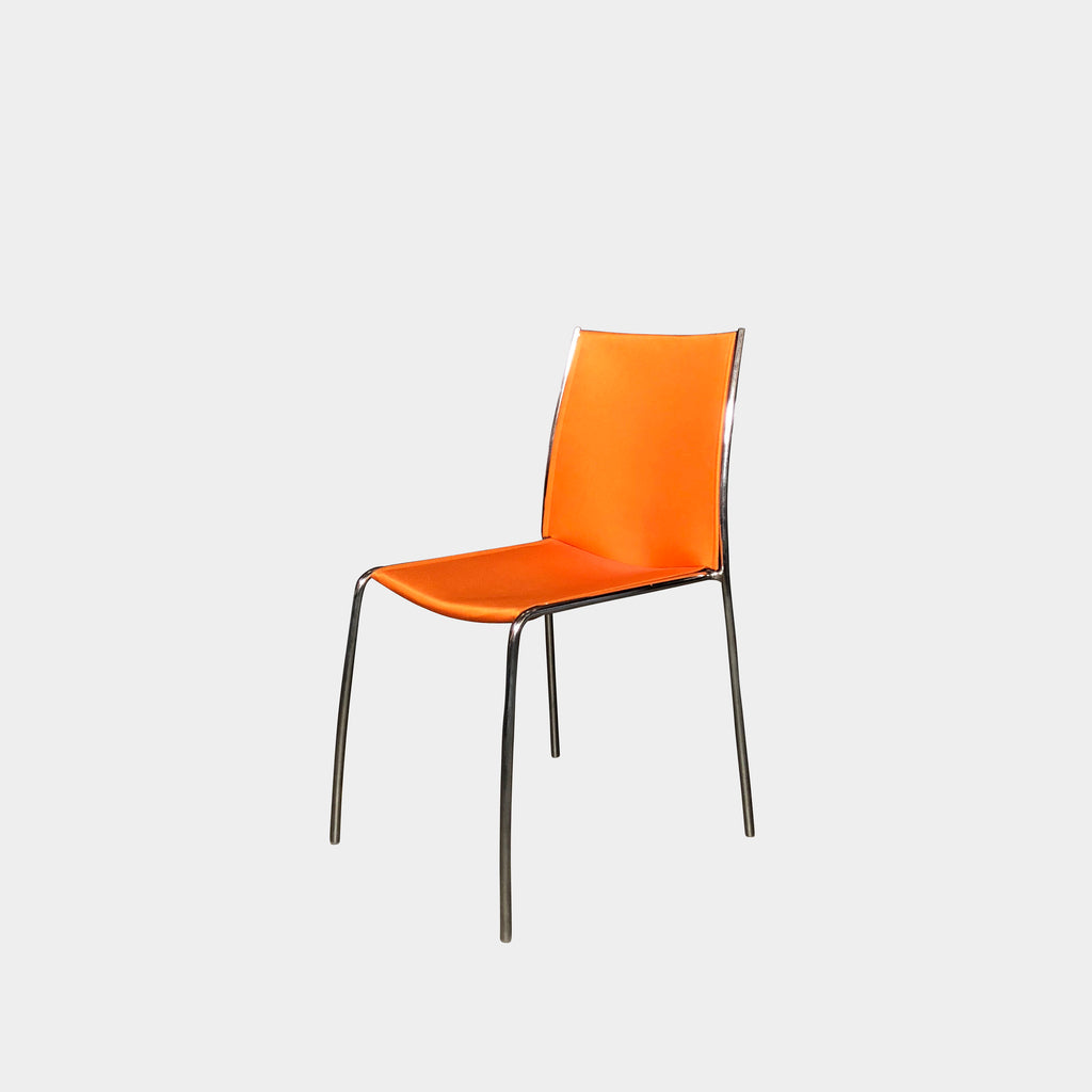 Orange Fabric Dining Chair with Chrome Frame | LA | Consignment