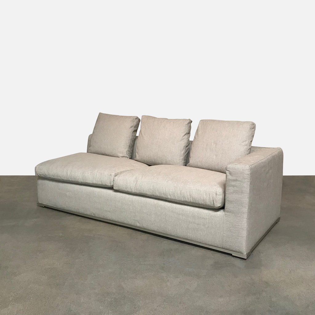 Maxalto 'Omnia' Light Taupe with Grey Flecks Right End Sofa Bed