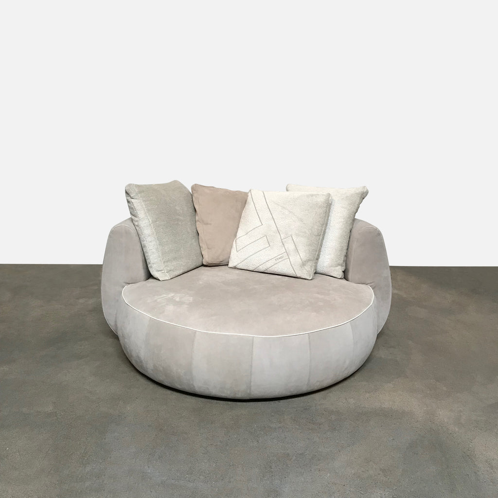 Fendi Ultrasuede Dove Gray Moony Swivel Sofa