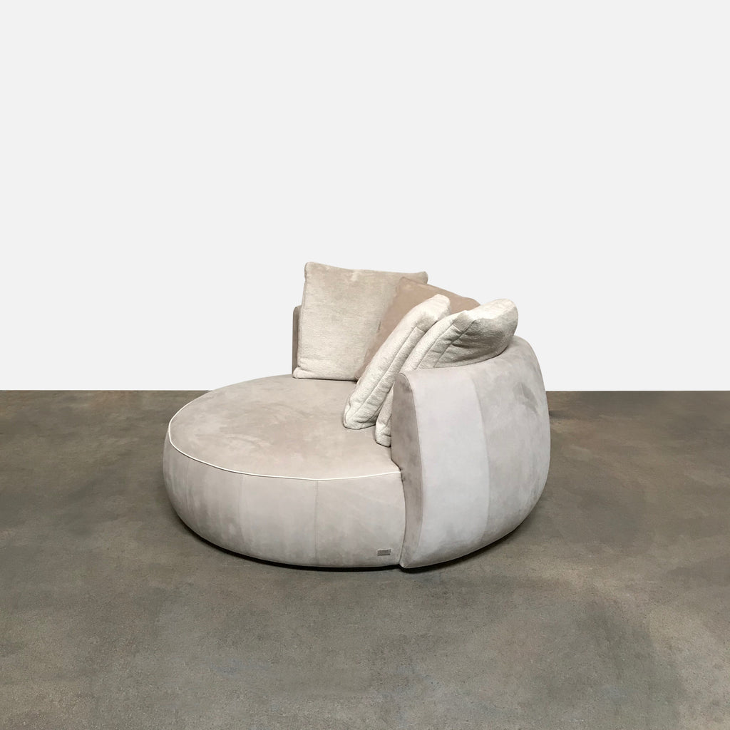 Fendi 'Moony' Beige Velvet Lux Swivel Sofa