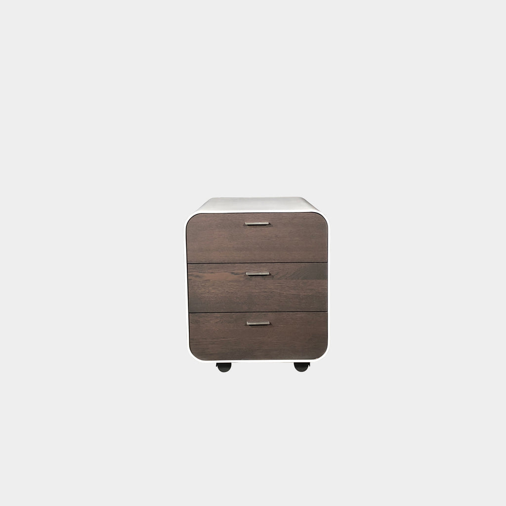 Two tone Italian Design Nightstand with 3 drawers and castors