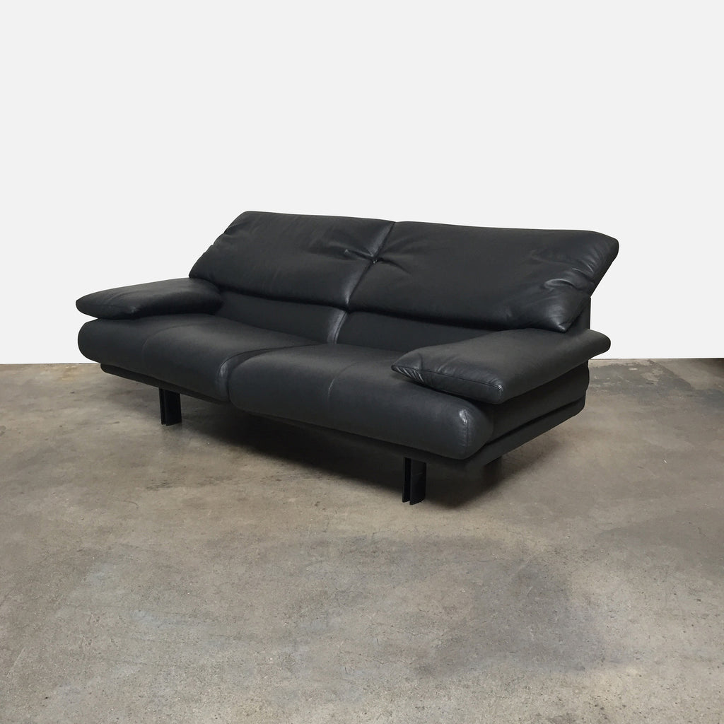 B&B Italia Black Leather Alanda Sofa by Paolo Piva | LA | Consignment