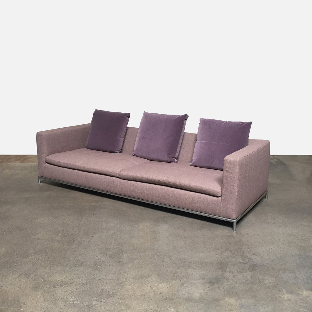 B&B Italia Dusty Pink Fabric George Sofa by Antonio Citterio