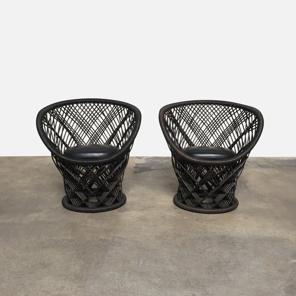 Driade Pavo Chairs by Patricia Urquiola - Pair of Tropical Vibe Black Leather