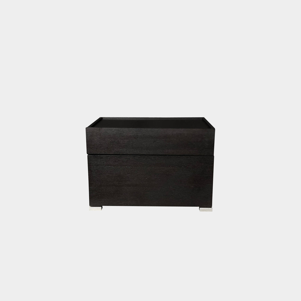 Flou Lipari Black Oak Nightstand or Side Table with Soft Close Drawers