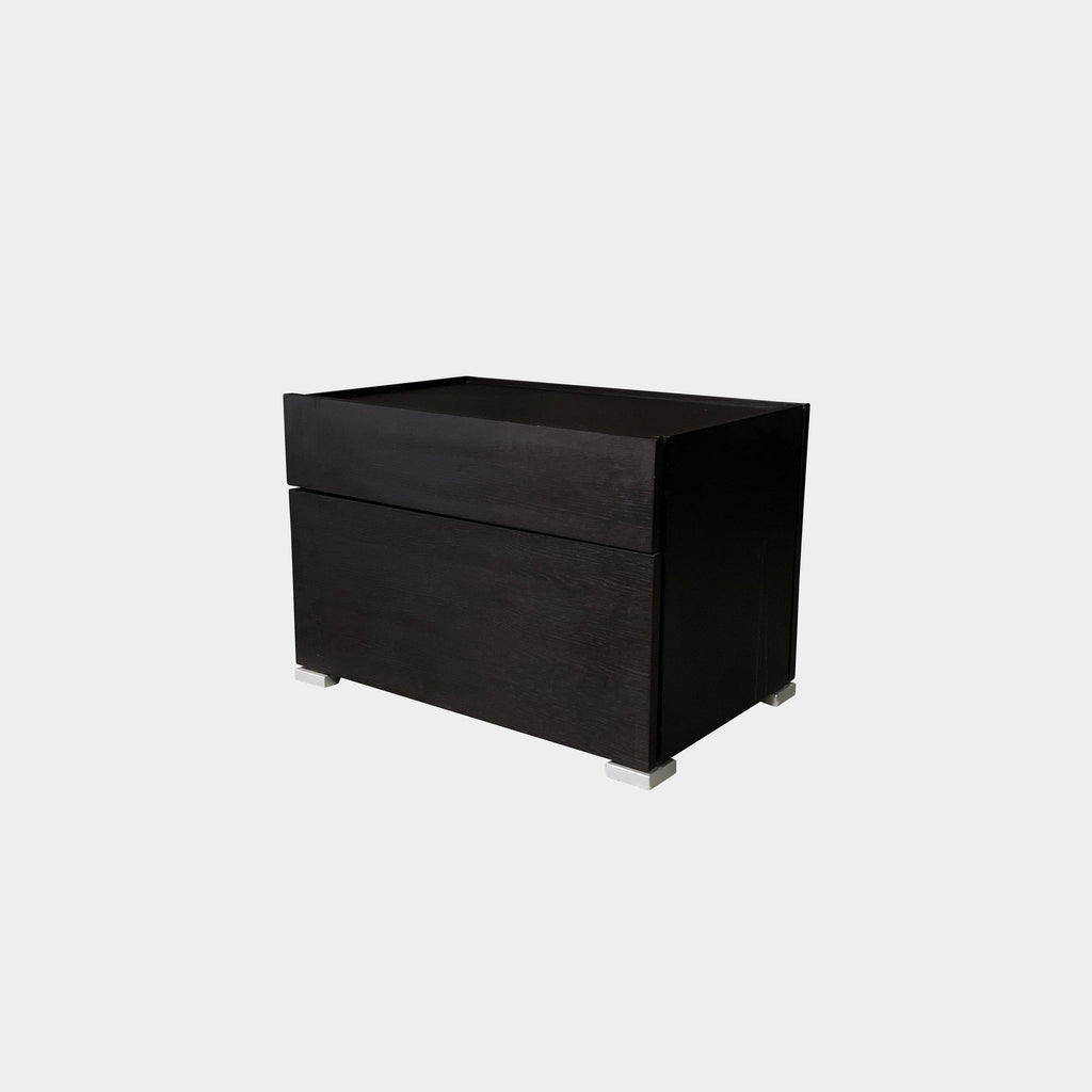 Flou Lipari Black Oak Nightstand or BedSide Table with Soft Close Drawers
