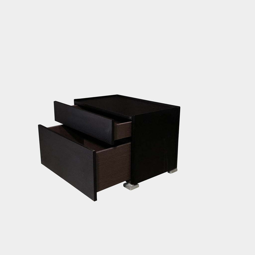 Flou Lipari Black Oak Nightstand / Dresser or Bedside Table with Soft Close Drawers