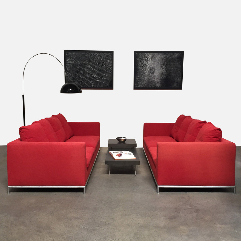 B&B Italia Red Fabric George Sofa by Antonio Citterio | LA Consignment