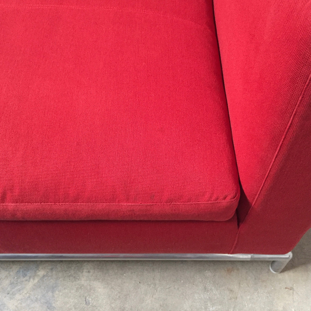 Buy our B&B Italia Red Fabric George sofas, a pair of matching George sofas. Save thousands of dollars online or in our designer furniture outlet. Shop upscale furniture consignment from Los Angeles elite homes, showroom closings, overstock & liquidations. Side view