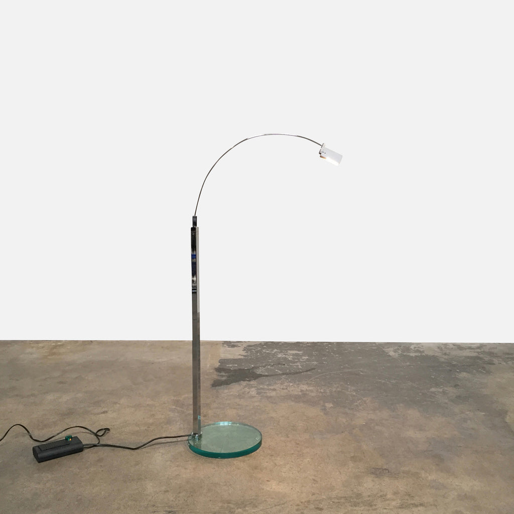 "Fontana Arte 'Falena' Floor Lamp by Alvaro Siza. Shown here Illuminated. Designed in 1994. Made of Aluminum, Chrome-Plated Metal and Glass. Dimensions: 20"" W x 20"" D x 40.75""H Available immediately in stock and we will ship anywhere."