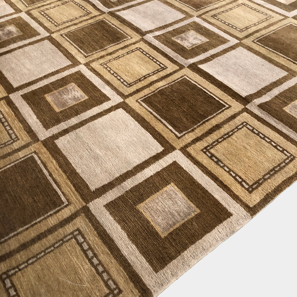 Square Tile Brown Rug, Rug - Modern Resale