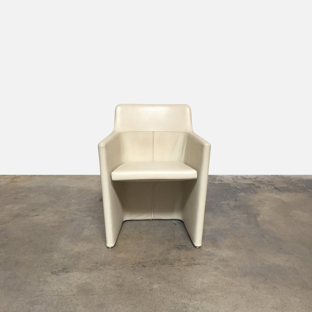 "Molteni & C 'Lyz' Armchair front view. Cream color leather upholstery, chrome base. Dimensions: 23""W x 18""D x 30""H Seat Height: 18"" 