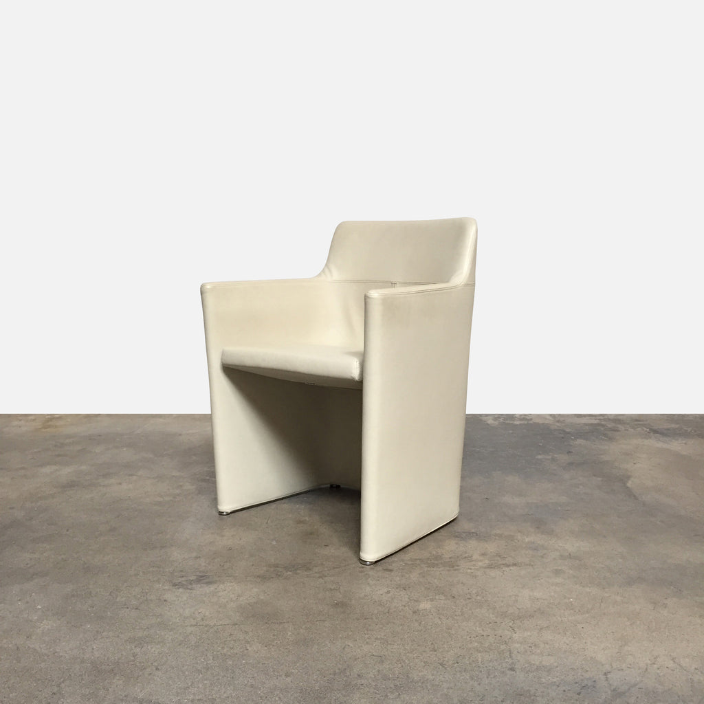 "Molteni & C 'Lyz' Armchair angle view Cream color leather upholstery, chrome base. Dimensions: 23""W x 18""D x 30""H Seat Height: 18"" 