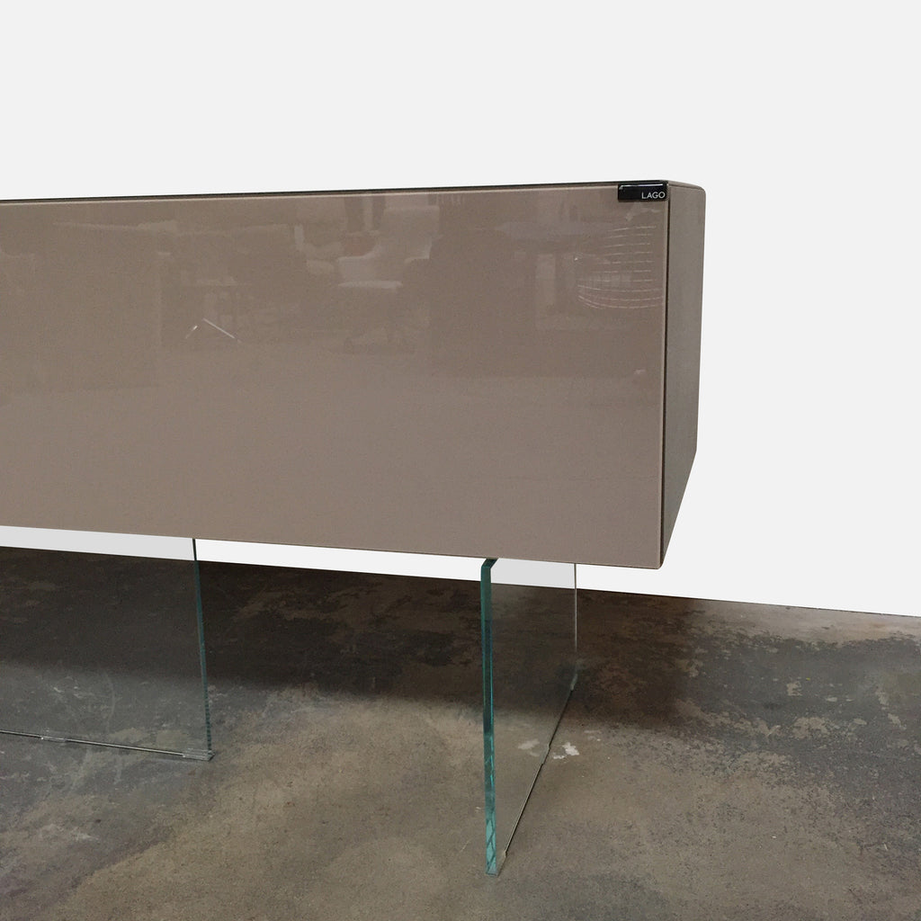"Lago ""Air"" Sideboard by Daniele Lago. Glossy lacquer and glass. 101.5""W x 22""D x 30""H Right Piece: 58""W x 22""D x 30""H Left Piece: 43""W x 22""D x 30""H. Available immediately in stock but we will ship anywhere. detail shot"