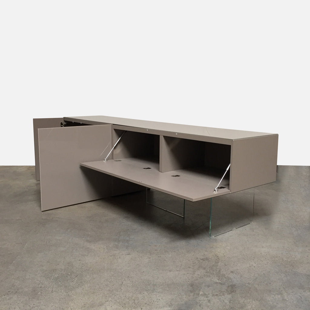 "Lago ""Air"" Sideboard by Daniele Lago, Glossy lacquer and glass. 101.5""W x 22""D x 30""H Right Piece: 58""W x 22""D x 30""H Left Piece: 43""W x 22""D x 30""H. Available immediately in stock angle view"