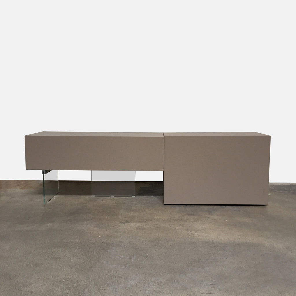 "Lago ""Air"" Sideboard by Daniele Lago, 2006  Glossy lacquer and glass. 101.5""W x 22""D x 30""H Right Piece: 58""W x 22""D x 30""H Left Piece: 43""W x 22""D x 30""H. Available immediately in stock"