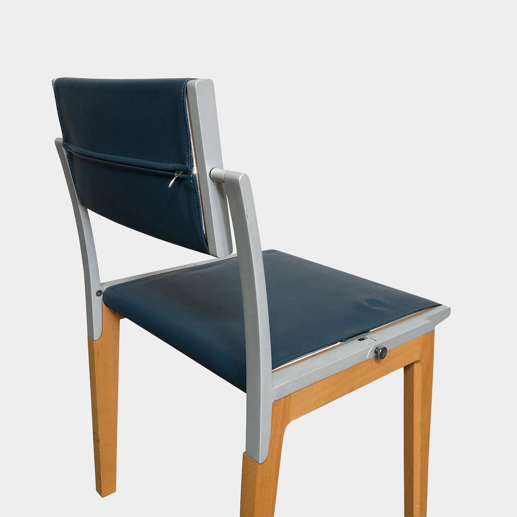 Giorgetti 'All' Blue Leather and Light Wood Adjustable Back Armchair