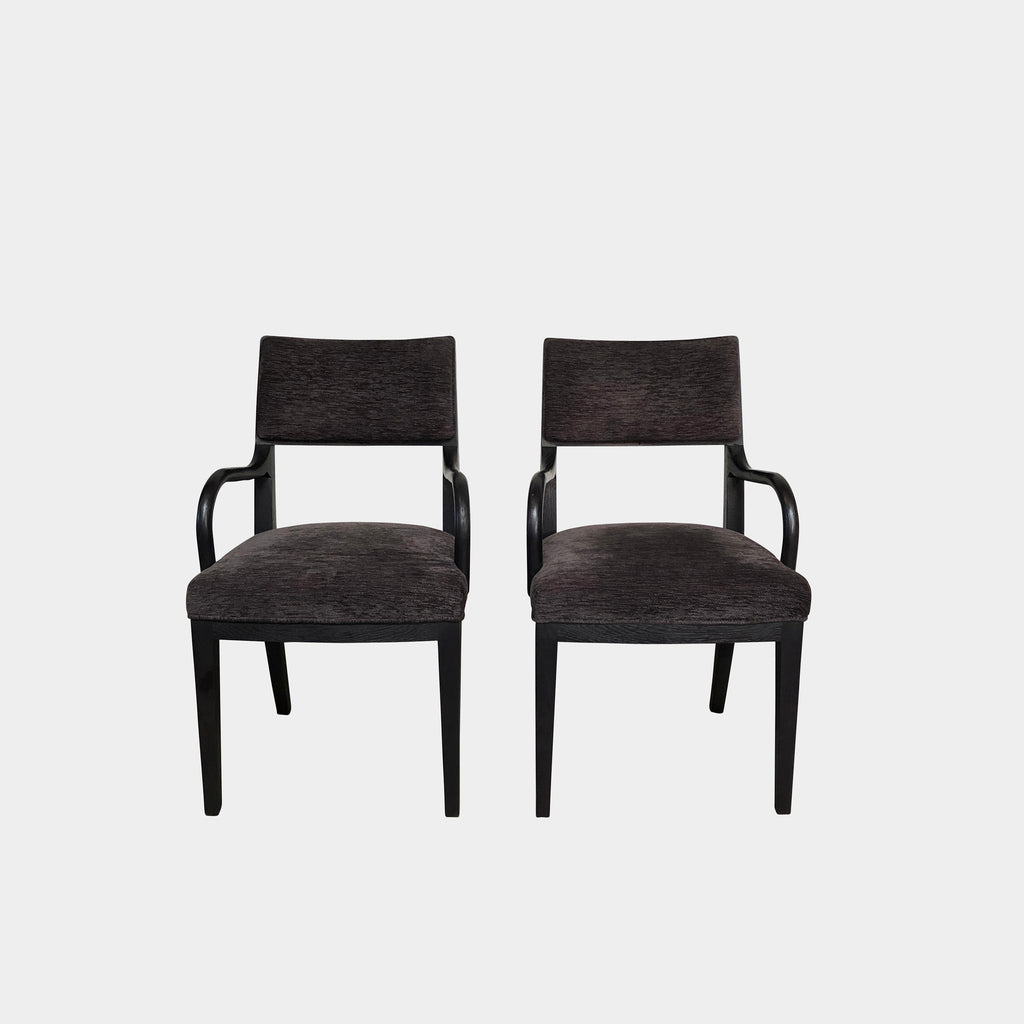 Maxalto Black Oak Apta Chair With Chenile Gray Fabric