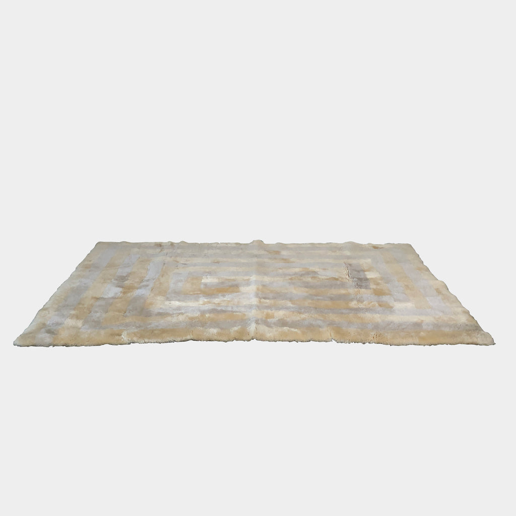 Rare Butter Yellow and Stone Gray Lambswool Rug with Graphic Pattern, Rug - Modern Resale