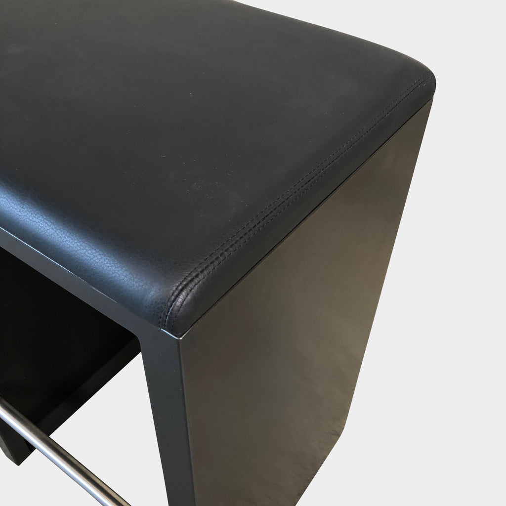Zeus Black Leather Irony Counter Stool by Maurizio Peregalli