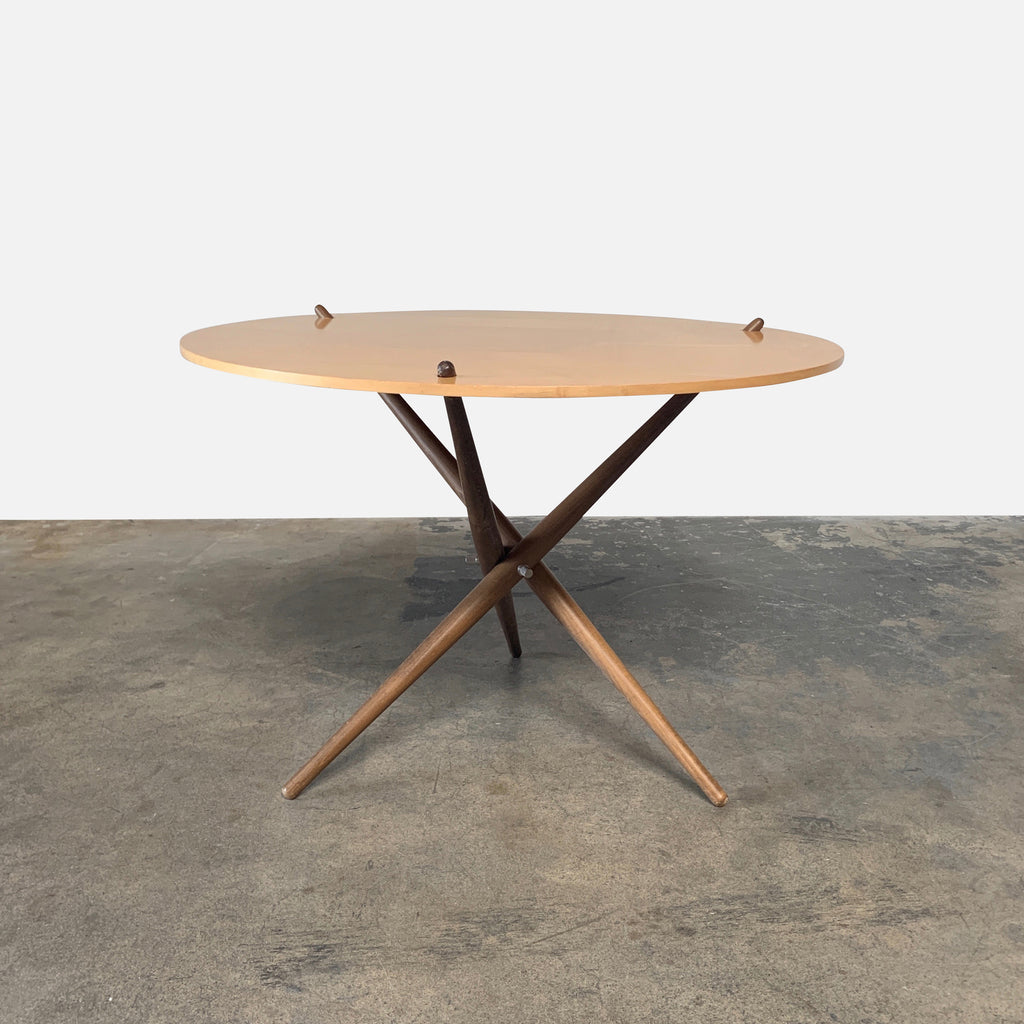 Knoll 'Folding Tripod Table' by Hans Bellmann Light wood top with darker wood base. For sale at Modern Resale in Los Angeles