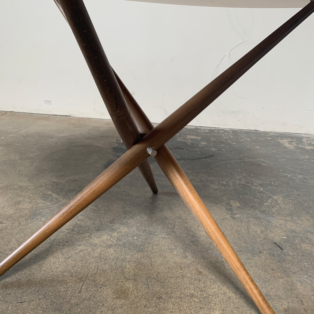Knoll 'Folding Tripod Table' by Hans Bellmann Light wood top with darker wood base. For sale at Modern Resale in Los Angeles. Detail Shot of Base