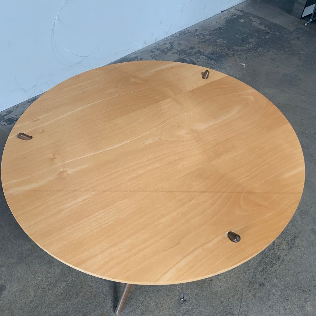 Knoll 'Folding Tripod Table' by Hans Bellmann Light wood top. For sale at Modern Resale in Los Angeles