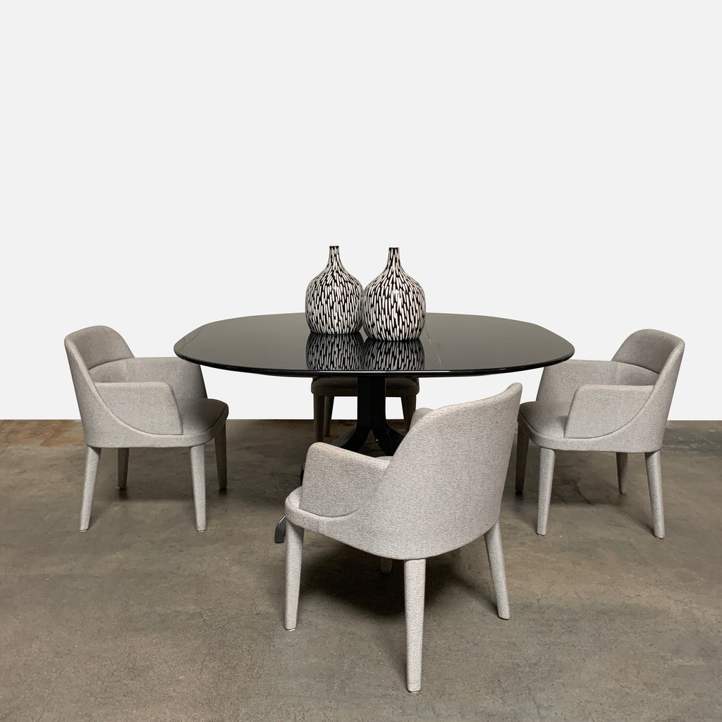 shown with chairs and vases Minotti 'Claydon' Dining Table. Glossy Laquer top, On sale Los Angeles