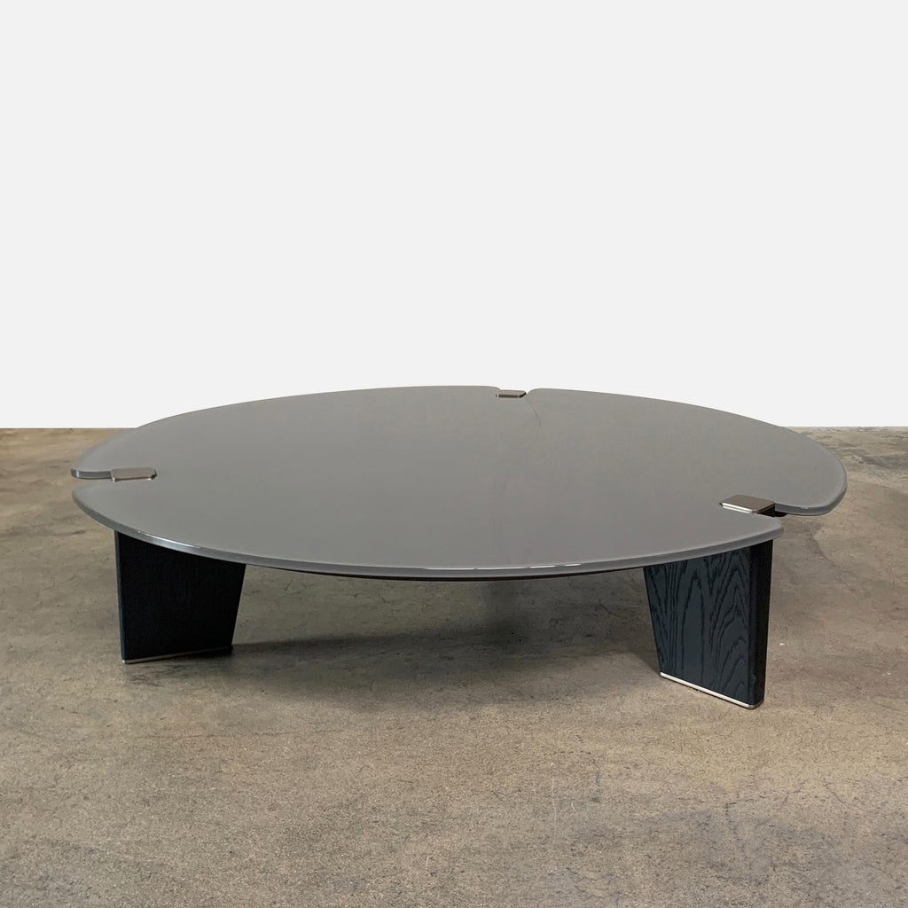 Minotti 'Jacob' Coffee Table by Rodolfo Dordoni Gray Glass top, Black Wood Legs, Nickle finish details, on sale in Los Angeles