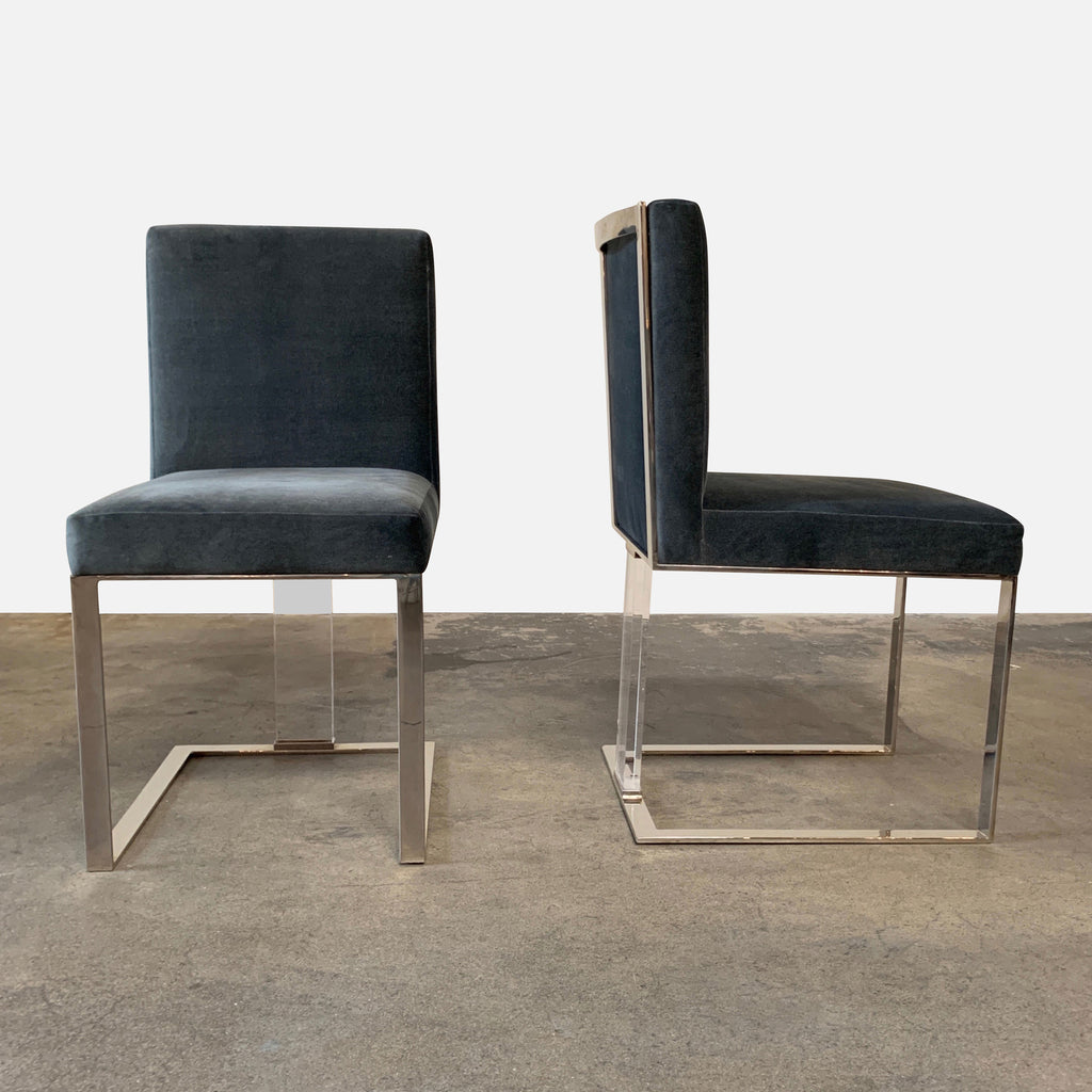 J Alexander 'Soho' Dining Chairs Chrome and Lucite Frame - Front and Side Views
