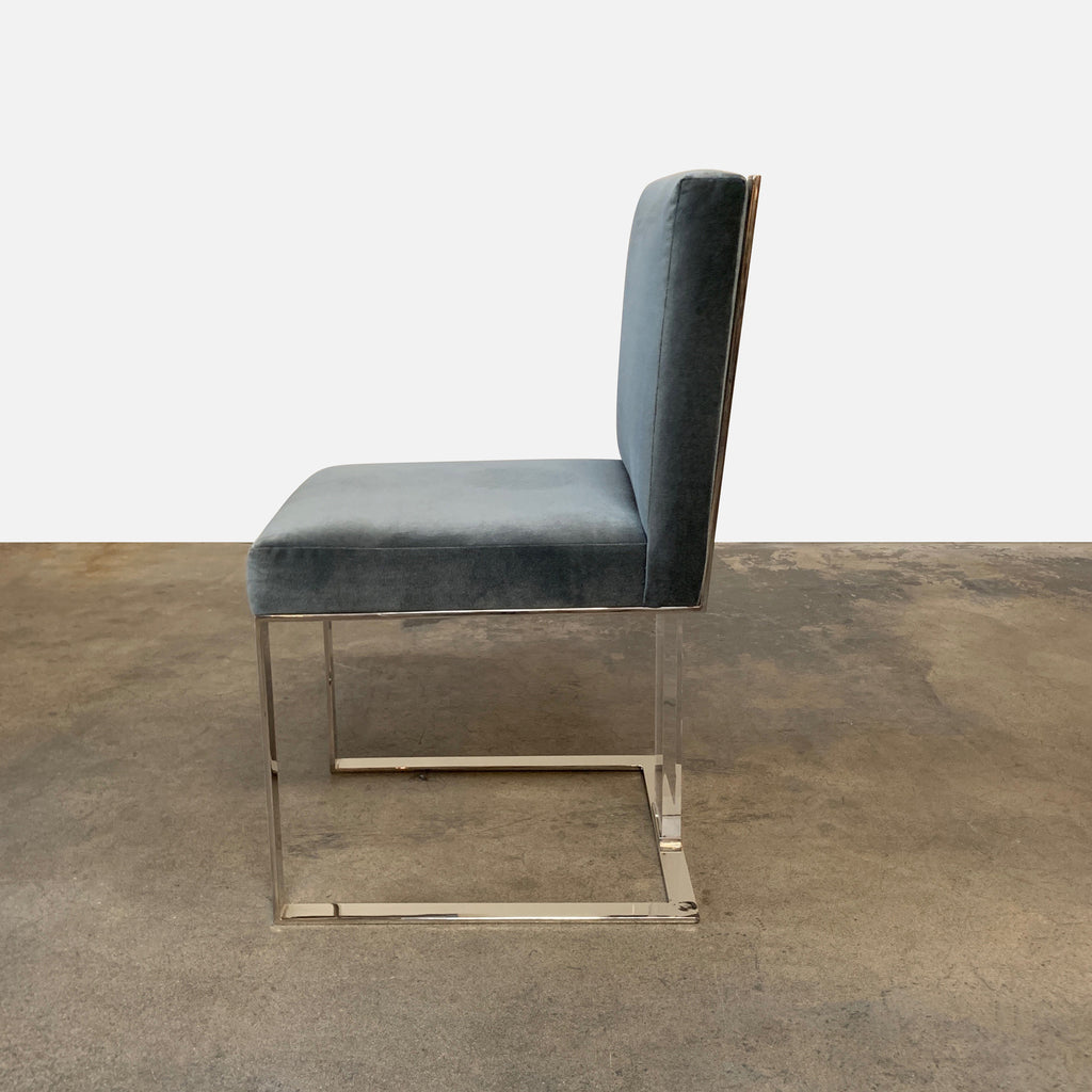 J Alexander 'Soho' Dining Chairs - Blue-gray Velvet - Side View