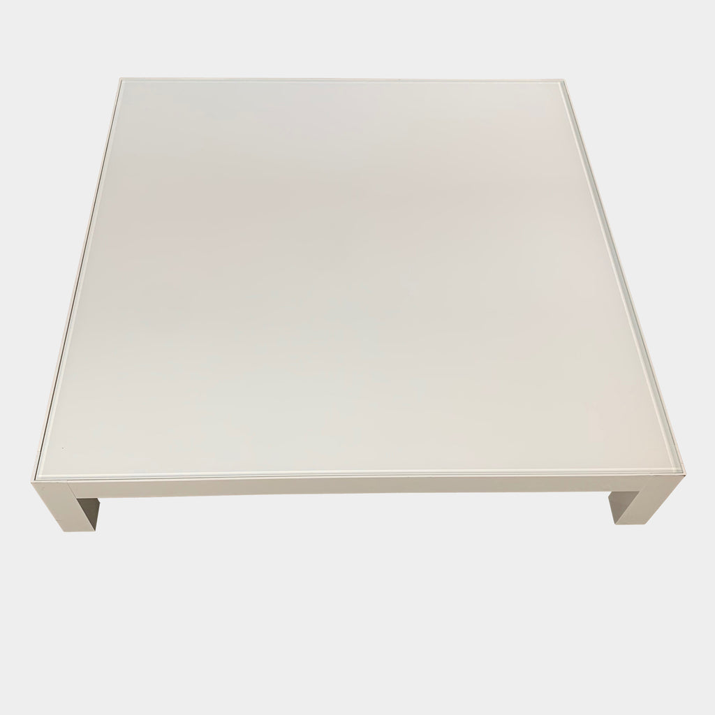 MDF Italia Low White Glass Coffee Table
